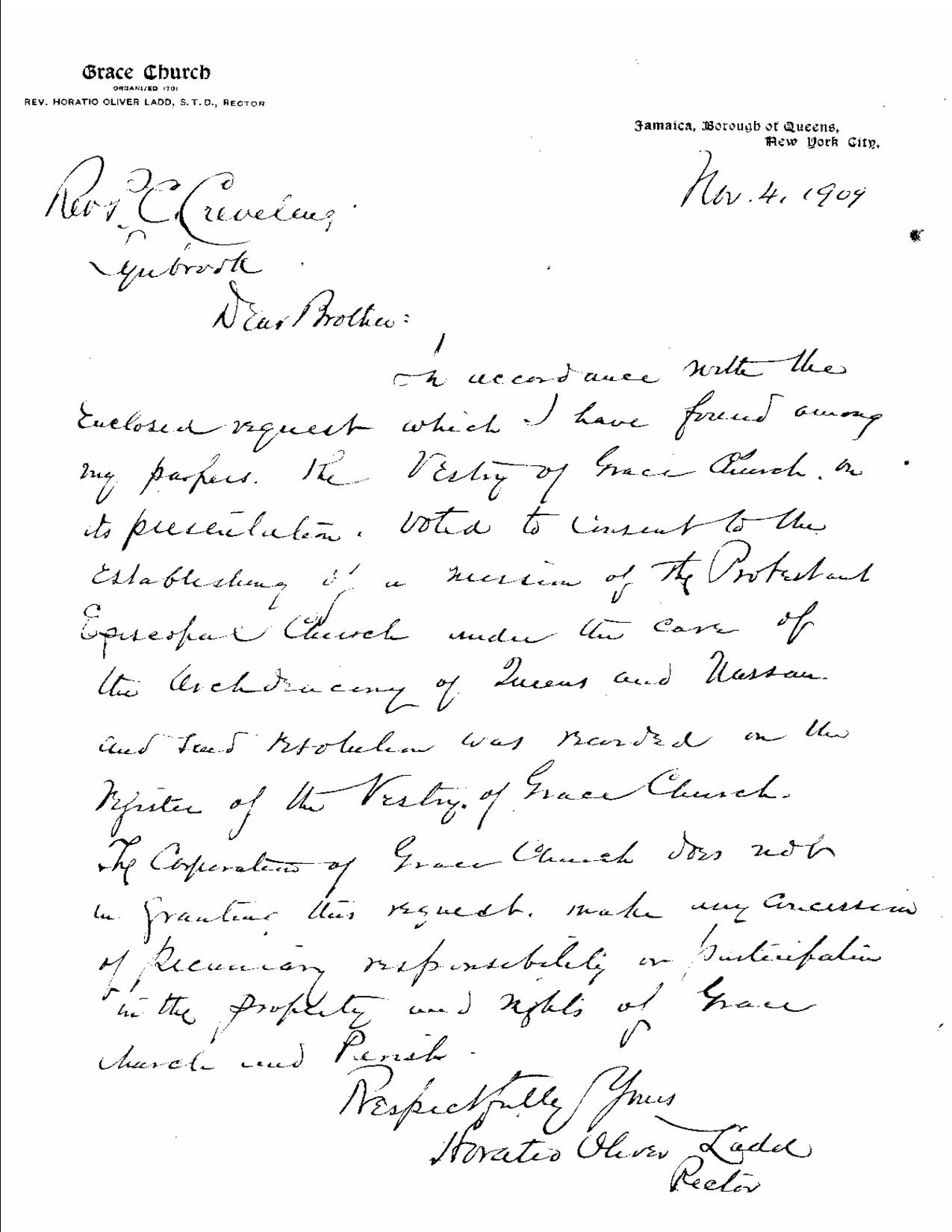 St. Peters Church 1909 Letter